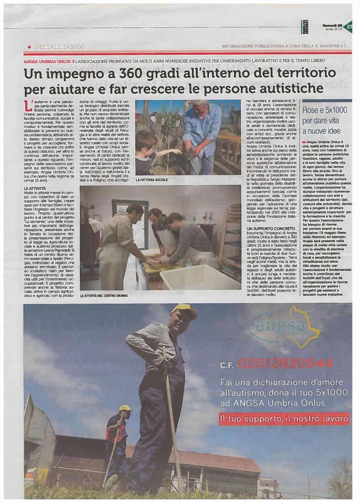 Iª Campagna 5x1000 ANGSA Umbria 2016 Corriere dell'Umbria