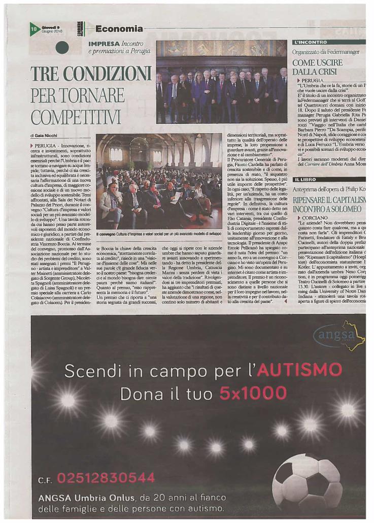 IIª Campagna 5x1000 ANGSA Umbria 2016 Corriere dell'Umbria