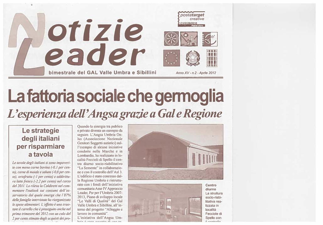 Notizie Leader Fattoria sociale ANGSA Umbria con Gal e Regione - 2 aprile 2012