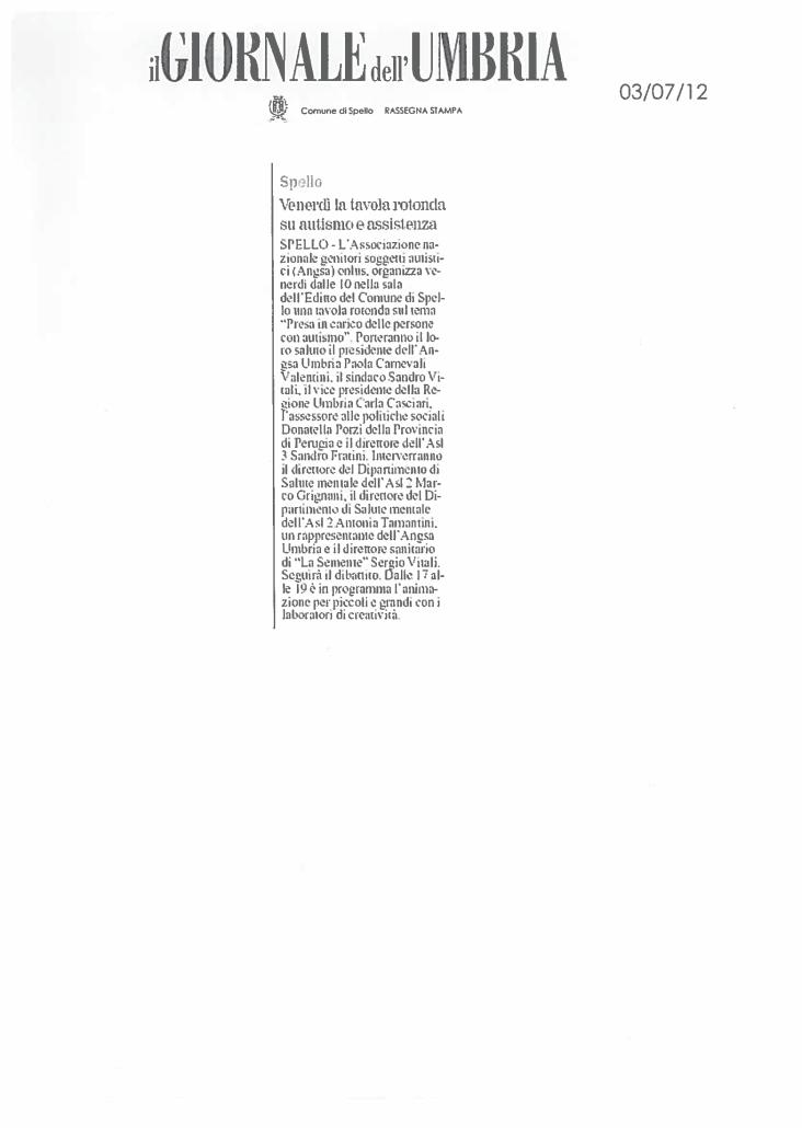 Tavola rotonda su autismo - ANGSA Umbria su Giornale dell'Umbria 2012.pdf