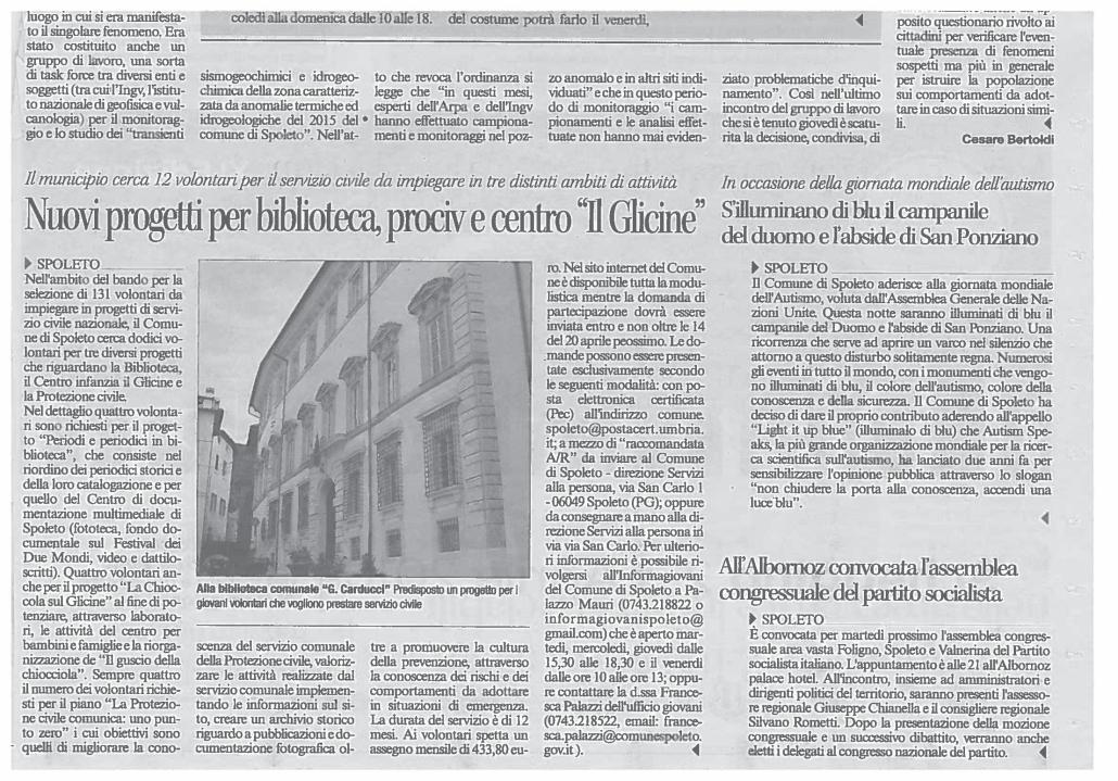 Duomo di Spoleto illuminato di blu x Giornata dell'Autismo 2016