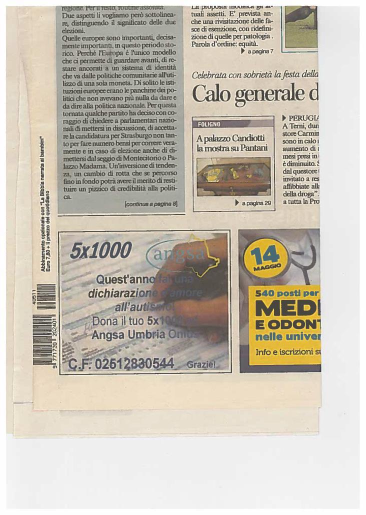 Iª Campagna 5x1000 ANGSA Umbria 2015
