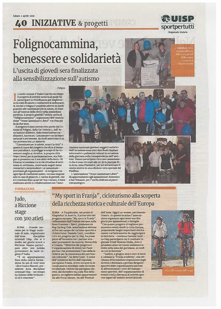 Piedibus del benessere 2016 - ANGSA Umbria