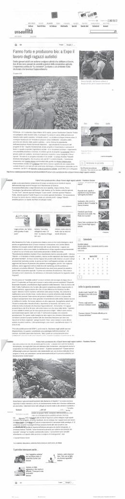 Redattore sociale Agenzia giornalistica - Bio La Semente ad Expo 2015