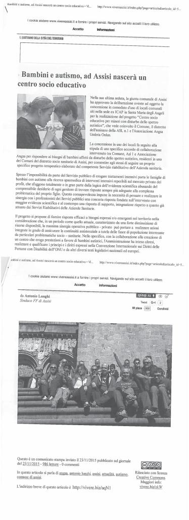 Vivere Assisi Comunicato stampa apertura Centro Up 2015